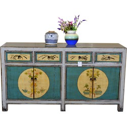 Fine Asianliving [PREORDER WEEK48] Antique Chinese Sideboard Hand Painted Teal and White