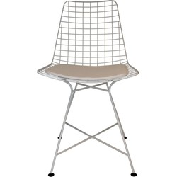 Set v 2 Draadstaal Stoelen-48x55x88cm-Draadstaal-Wit -Incl.kussen-Housevitamin