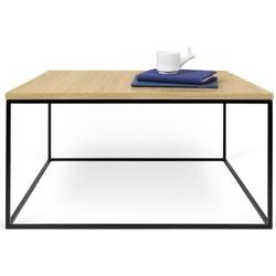 TemaHome Salontafel Gleam 75 - L75 X B75 X H40 Cm - Zwart Onderstel - Eiken Fineer Tafelblad