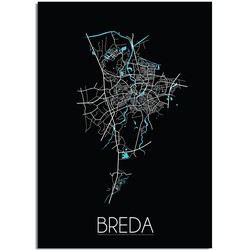 Breda Plattegrond poster Zwart - A3 poster zonder fotolijst