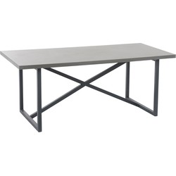 Industry Grey - Eettafel - 190x90cm - grijs - hout - beton finish - metalen onderstel