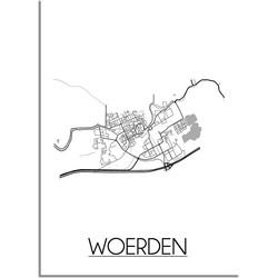 Woerden Plattegrond poster - A4 poster zonder fotolijst