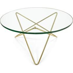 OxDenmarq Salontafel O - Messing Onderstel - Glazen Tafelblad
