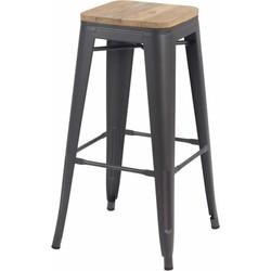 Set van 4 barkrukken - Retro - mat grijs hout - 76 cm