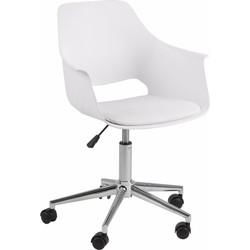 24Designs  Bureaustoel Tretan - Kunststof Witte Kuipzitting - Zitkussen Wit