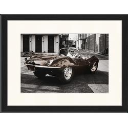 Steve McQueen in his Jaguar - Fotoprint in houten frame met passe partout - 30 X 40 X 2,5 cm