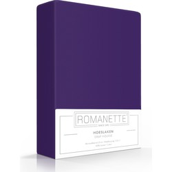 Romanette Hoeslaken Hoge hoek paars 100% Katoen Kingsize XXL 200x220