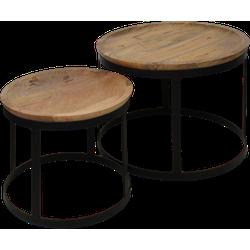 Salontafel Zen - naturel/zwart - mango hout - set van 2