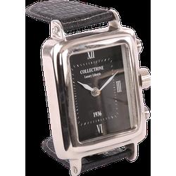 Horloge klok Louis 31111 glans chroom + zwarte wijzerplaat