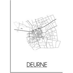 Deurne Plattegrond poster - A3 + Fotolijst zwart