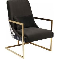 Kare Design - Fauteuil Bold - Stof - Messingkleurig Metalen Sledeframe