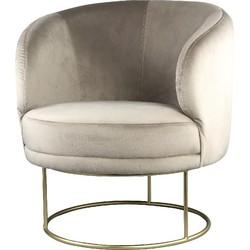 PTMD Xelena velvet zand fauteuil half round brass Iron