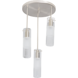 Ceiling Lamp Prosper 3 Steel with Clear Glass Shades
