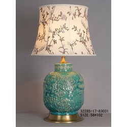 Fine Asianliving Fine Asianliving Oosterse Tafellamp Porselein Turquoise Dorp