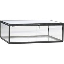 Madam Stoltz opbergbox metaal glas zwart L 8 x 22 x 17,5