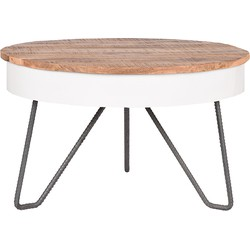 The Saria coffee table by LABEL51 gives your home real character. Practical and unique, that's what defines this coffee table!<br><br>The round shaped Saria has a coarse handmade Mango wood top.