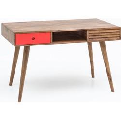 24Designs Hugo Bureau Rood 117x60x75 Cm 2-Laden - Sheesham Hout