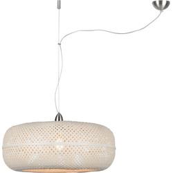 Hanglamp Palawan bamboe enkel kap, wit