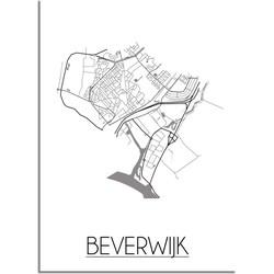 Beverwijk Plattegrond poster - A4 poster zonder fotolijst