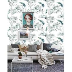 Zelfklevend behang Palmblad groen wit 3 60x244 cm