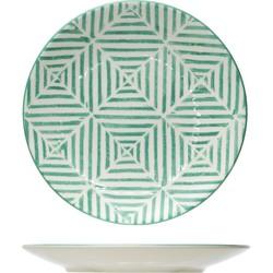 Cosy&Trendy Invertida Dessertbord - Ø 20 cm - Groene Streep - Set-6