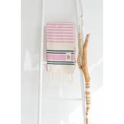 Mycha Ibiza - hamamdoek – streep – roze – 100% handgeweven katoen