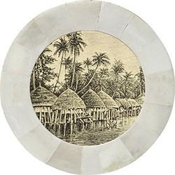 HK-living lijst rond wit hoorn met zwart wit print palmbomen en hutjes Ø7,5x1,3cm