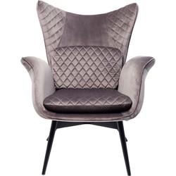 Kare Design Fauteuil Tudor Velvet Silvergrey 100 x 78 x 80