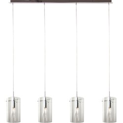 Hanglamp Quattro 4 lichts + transparant glas