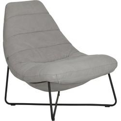 24Designs Line Lounge Fauteuil - Stone Washed Katoen Grijs - Zwart Metalen Onderstel