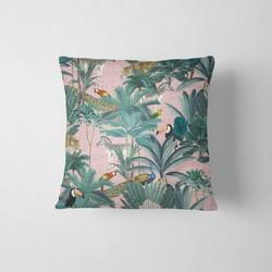 Sierkussen Jungle DesignClaud- Roze - 50 x 50 cm kussenhoes + vulling