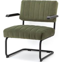 By-Boo Operator Loungestoel - Groen Fluweel - Zwart Metalen Sledeframe