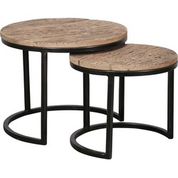Recycled - Salontafels - set van 2 - rond - dia 50 & 40 cm - massief gerecycled hardhout - metalen halfrond frame