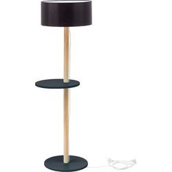 Lamp UFO met grijze basis en plank met zwarte kap en transparante kabel