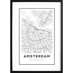 Amsterdam Kaart Poster (29,7x42cm)