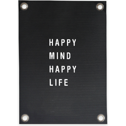 Tuinposter Letterbord Happy Mind Happy Life (70x100cm)