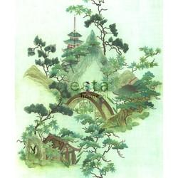 ESTAhome fotobehang chinoiserie groen en bruin
