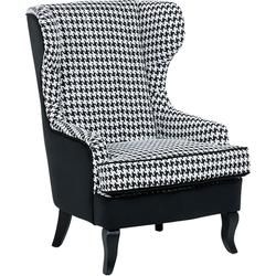 Fauteuil - geblokt zwart-wit - oorfauteuil - relaxfauteuil - gestoffeerde fauteuil - MOLDE