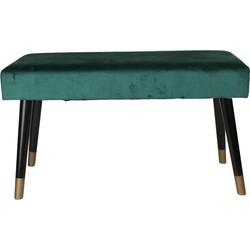 Fluwelen Bank-78x45cm-met zwart/gouden poten -Groen-Housevitamin