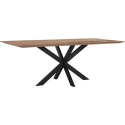 24Designs Curves Tafel - 210x100x78 - Tafelblad Recycled Teakhout - Zwart Design Onderstel