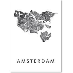 Kunst In Kaart Amsterdam Poster 50 x 70 cm - Wit