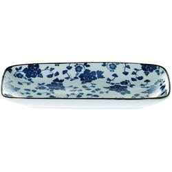 Schaal Floral blauw rechth. 22cm