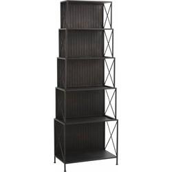 Industry - Bureau rekjes - set van 5 - stapelbaar -metaal - zwart - 66x36x190cm