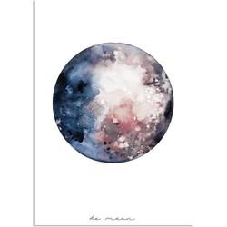 Maan Waterverf stijl poster - Wanddecoratie - Kleurrijk - A3 + Fotolijst wit