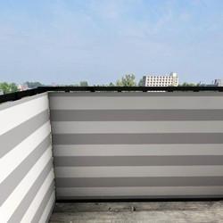 Balkonafscheiding gestreept grijs (150x90cm Enkelzijdig)