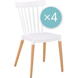 Medaillon stoel - wit - set van 4