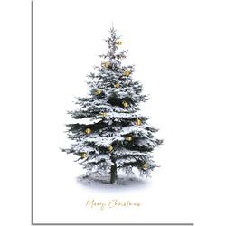 Kerstposter Merry Christmas Kerstboom - Goudfolie kerstballen - A2 + Fotolijst zwart
