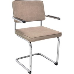 Set van 4 stoelen - Rob - warm grijs - met armleuning