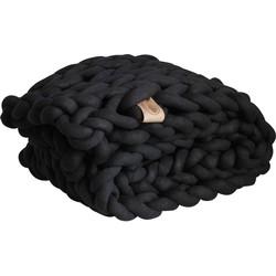 Plaid zwart  - biologisch katoen -  L - 100*180 cm