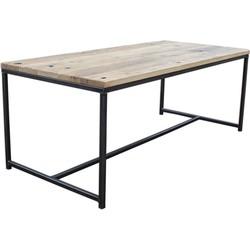 Eettafel Stalen Frame met Eiken Wagondeel geschaafd